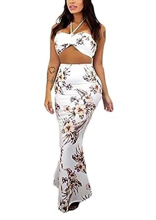 c07aa15ab Mujer Conjuntos De Crop Top Y Falda Largas Verano Elegantes Moda ...
