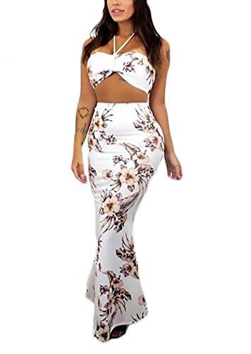 8b92b77d3f8bc Moda Vita Ragazza Slim 2 Abiti Top Smanicato Lunga Fit Senza Tumblr Abbigliamento  Spalline bandeau Eleganti Donna ...