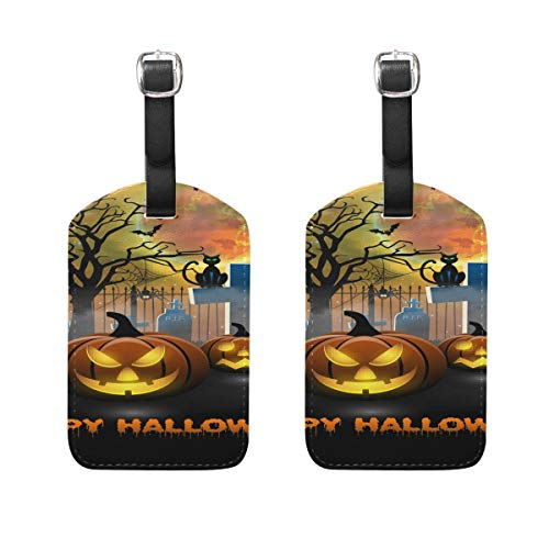 Luggage Tag for Baggage Suitcase 2 PCS Spooky Pumbkin Halloween Leather Travel Bag Address Labels -