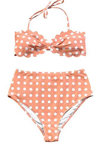 CUPSHE Women's Scallop Top High Waisted Bikini Peachy Polka Dot Medium Pink ()