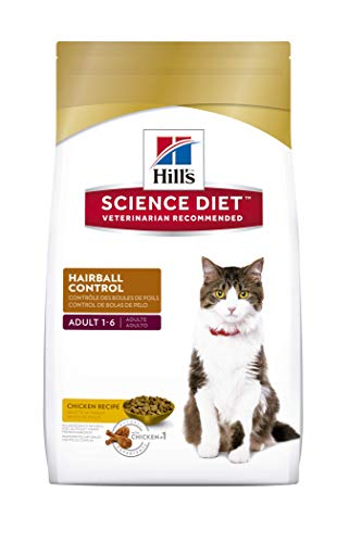 Hill's Science Diet Adult Hairball Control, alimento seco para gatos adultos, receta de pollo, control de bolas de pelo,...