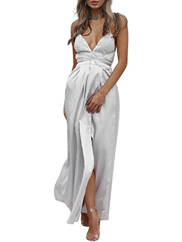 Simplee Apparel Women's Sexy V Neck Sequin Long Maxi Dress Party Lace Up Satin Backless Dress Silver ()