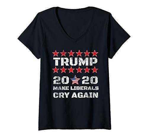 Womens Trump 2020 Make Liberals Cry Again V-Neck T-Shirt