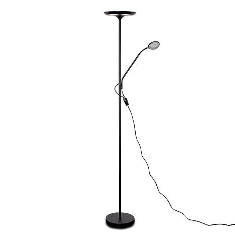 Modern Matt Black 25w Integrated LED Adjustable Father & Son Uplighter Floor Lamp 3000K Warm White