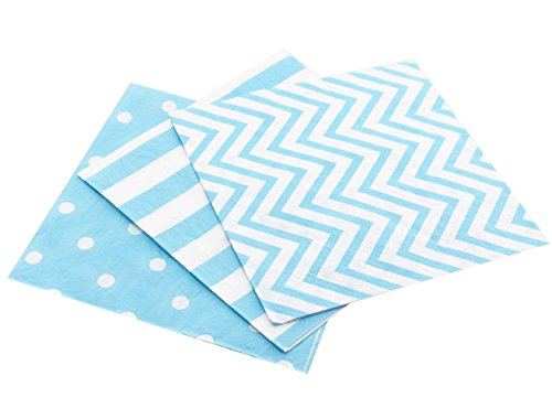 - Anyneo Striped Chevron Polka Dot Blue Paper Beverage Napkins 60 Count