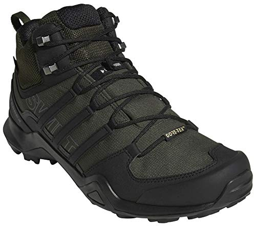 adidas outdoor Terrex Swift R2 Mid GTX Mens Hiking Boots, Night Cargo/Black/Base Green, 10.5