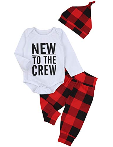 Baby Boy Girl Clothes New to The Crew Print Romper Plaid Pants + Cute Hats 3pcs Outfits Sets(3-6 Months)