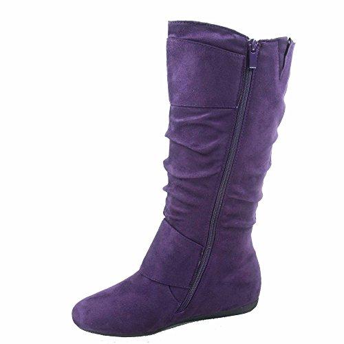 Top Moda Bank-81 Damenmode runde Zehe flache Ferse Reißverschluss Schnalle Slouchy Mid-Calf Boot Shoes Lila