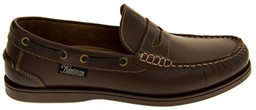 Helmsman 72015 Hombre Cuero Zapatos de la Cubierta Mocasines Marrón