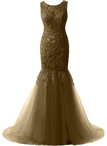 Promkleider Abendkleider 2018 Braut Braun Ballkleider Pfirsisch Spitze mia Dunkel Meerjungfrau Still Langes Abiballkleider La Neu wq8ApaS