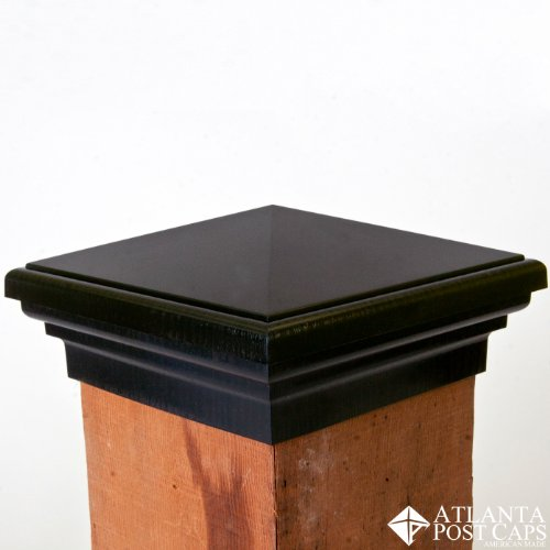 6x6 Post Cap (Nominal) - Black Pyramid Top (Case of 14) - With 10 Year Warranty by Atlanta Post Caps