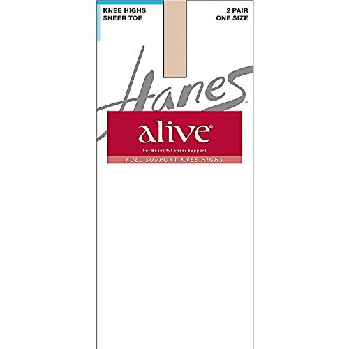 (By Hanes Alive Full Support Sheer Knee Highs 2-Pack_Little Color_One Size)