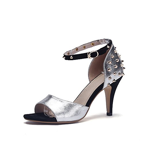 AllhqFashion Womens Round Open Toe Spikes-Stilettos Cow Leather Sandals with Metal Buckles Silver qrE03n