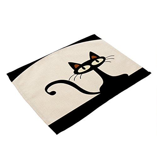 Cute Black Cat Meow Children Cotton Placemats,Washable Placemats Table Mats for Dining Room Kitchen Table Decoration,Set of 2 (A03-2) ()