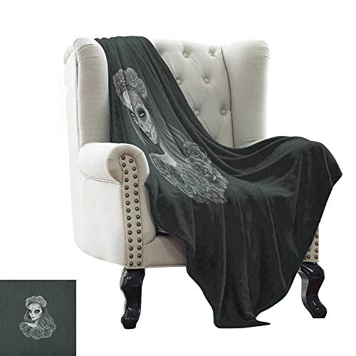 warmfamily Day of The Dead,Super Soft Lightweight Blanket,Gothic Young Girl in Calavera Make Up Hairstyle with Roses 50
