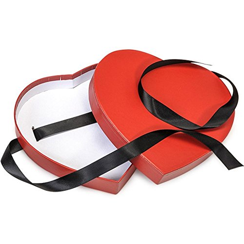 Red Small Matte Heart Shaped Boxes - 6 3/4 x 6 1/8 x 1 1/4in. - 36 Pack by NW