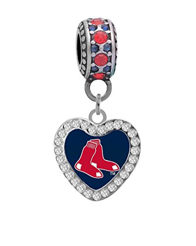 Boston Red Sox Crystal Heart Charm Fits Most Bracelet Lines Including Pandora, Brighton, Chamilia, Troll, Biagi, Zable, Kera, Personality, Reflections, Silverado and More ...