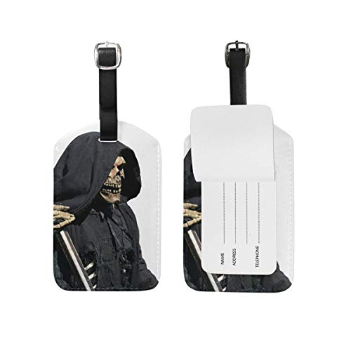 YhouqukehTshirt Leather Travel Luggage Tags Death Skull Zombie Emo Handbag Card Labels Set ID Accessories Men Women Set Of 2