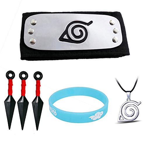 6PCS Naruto Cosplay Adjustable Headband Big Kunai Plastic Toy Necklace and Luminous Wristband Ninja Uzumaki Uchiha Sasuke Kakashi Sets Black