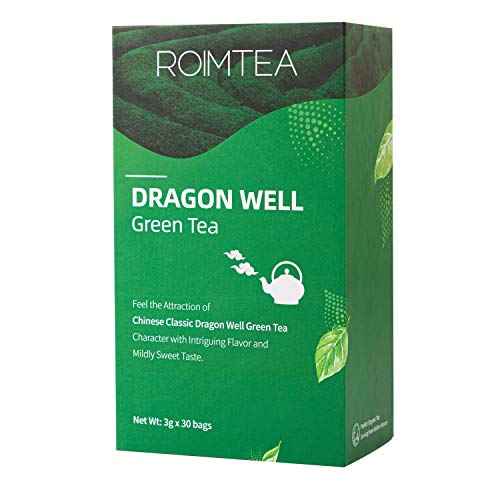 Green Tea Bags Dragon Well Loose Leaf Tea Bags with Premium Quality for Hot Tea or Iced Tea & Food Grade Foil Package, Hand Picked & Processed to Keep Freshness, 30 Tea Bags (Green Tea Dragonwell)