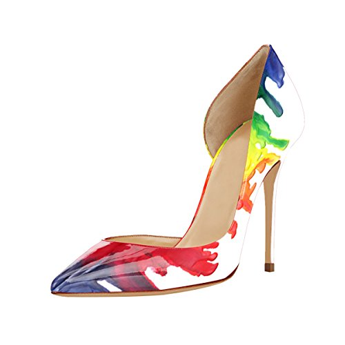 Guoar Dames Multicolor Dorsay & Tweedelige Puntschoen Hoge Hakken Pumps Maat 5 - 12 Us A-multicolor