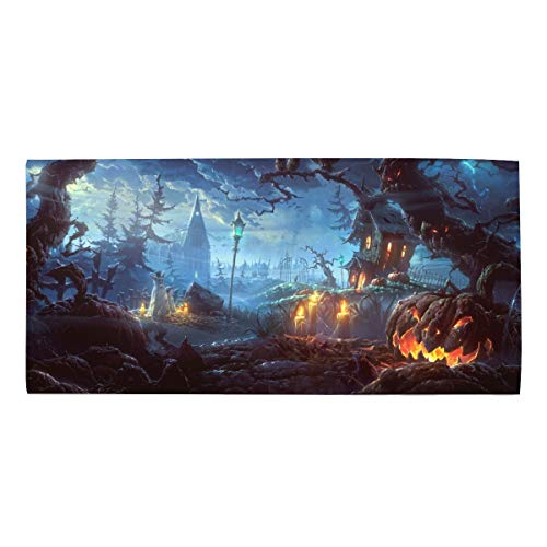Machine Washable, Solid Holiday Halloween 31 October Pumpkin Host Forest Castle Dishtowel 11.8 X 27.5 Inches]()