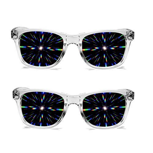 GloFX Ultimate Diffraction Glasses- Clear - 2 Pack - 3D Prism Effect EDM Rainbow Rave Sunglasses