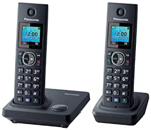 """Panasonic KX-TG7852SPB - Teléfono inalámbrico con dos terminales (pantalla LCD color, 1,45"""", identificador de llamadas, teclado iluminado, manos libres) color negro"""