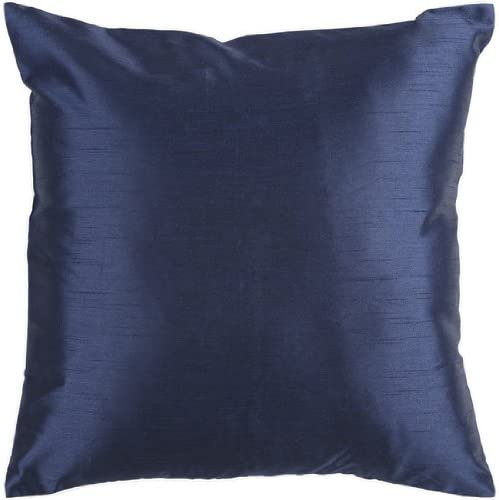 Diva At Home 18 Shiny Solid Navy Blue Decorative Throw Pillow – Poly Filled