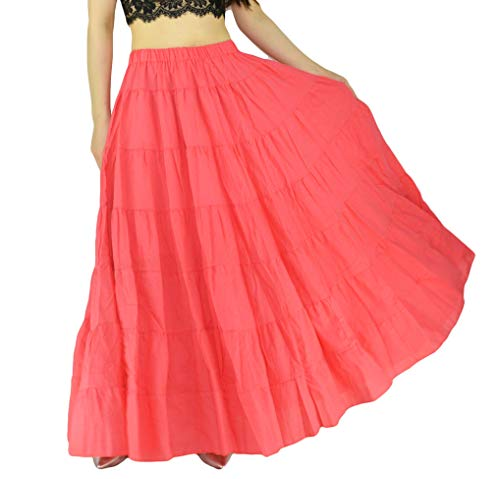 YSJERA Women's Cotton 5 Tiered A Line Pleated Maxi Skirt Long Boho Gypsy Dance Skirts (One Size, A Watermelon Red 37.4