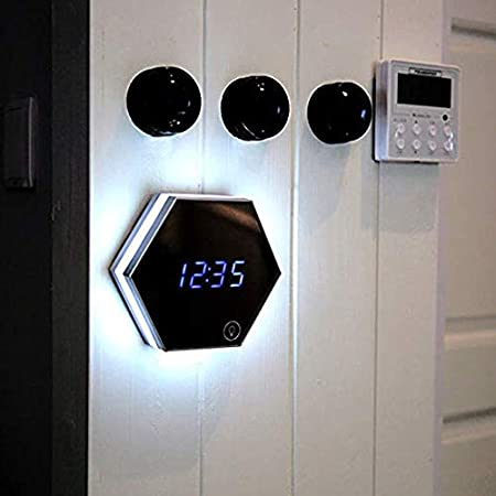 YHYGOO Espejo Despertador Espejo Multi-función Espejo Reloj electrónico termómetro de Pared Reloj Mini LED Maquillaje Espejo luz de la Noche