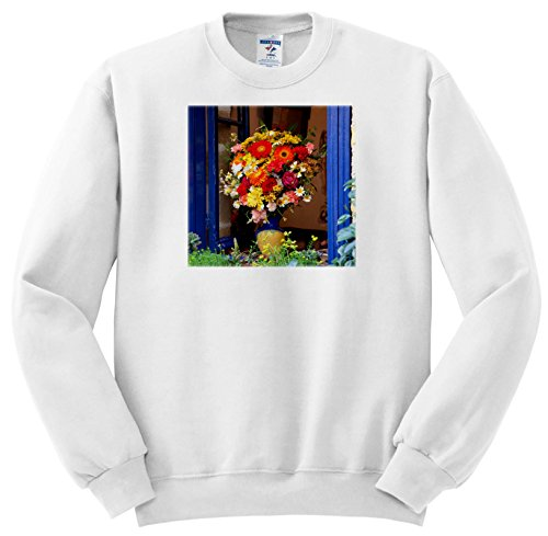Price comparison product image 3dRose Danita Delimont - Flowers - Greece, Crete, Window With Flowers - Sweatshirts - Youth Sweatshirt Small(6-8) (SS_277435_10)