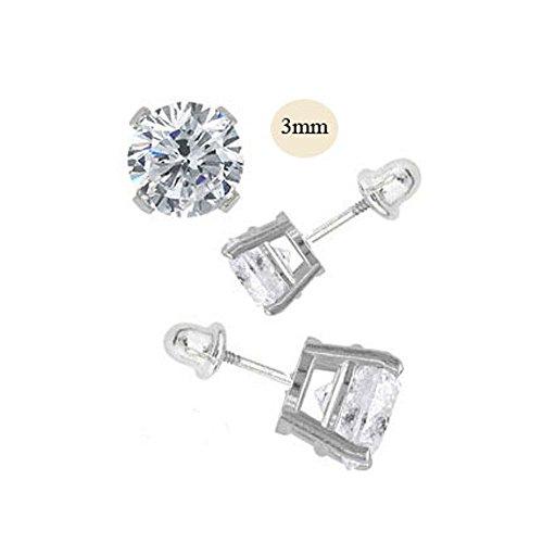 14K White Gold 3mm Round Simulated Diamond Stud Earring Set on Prong Setting, Screw Back Post -
