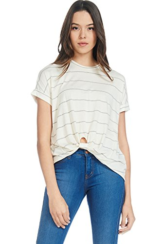 Gathered Bust Top (Alexander + David D Womens Casual Stripe Front Knot Pre Washed T-Shirt Top (Ivory/BK, X-Small))