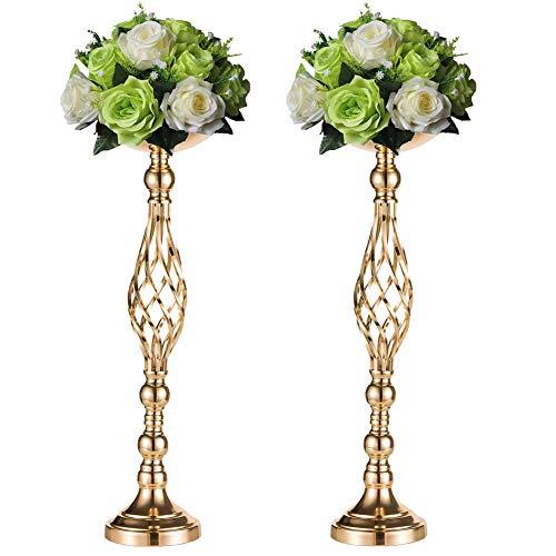 Sziqiqi 2 Pcs/Set Metal Flower Vase, Wedding/Party Flowers Centerpieces Table, Tall Candle Holder Pillar Candle, Restaurant Hotel Decorations (59CM ×2)