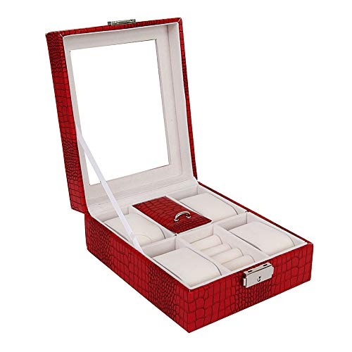 Tomorrow Sun Shine Jewellery Box Leather Lockable Jewellery Storage Box Watch Display Case Organizer for Ring,Earring,Necklace and Bracelet for Men Women Girls,Red