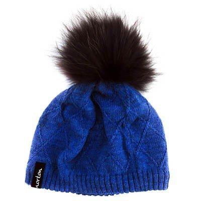 Norton Damen Mütze 7522 mit Bommel aus Echtpelz, Farbe:blau