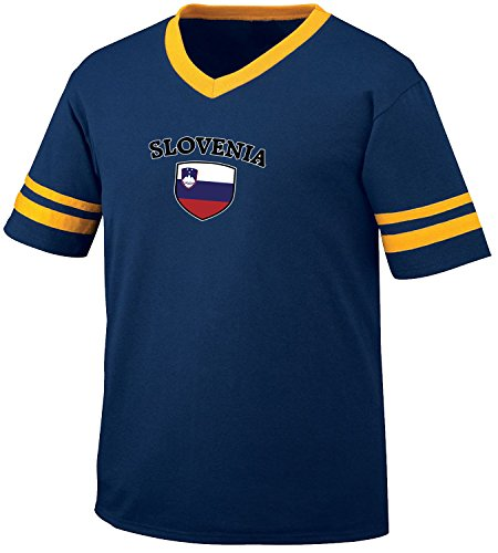 fan products of Slovenia Flag and Shield Men's Retro Soccer Ringer T-shirt, Amdesco, Navy/Gold Small