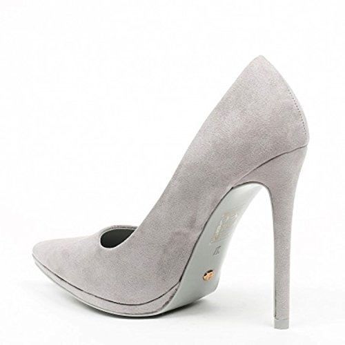 King Of Shoes Klassische Damen Stilettos Pumps High Heels Plateau Schuhe  Spitz 60 Grau ... bbb4dfcbc2