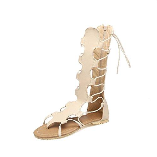 Sandalias Sandalias Mujer Mujer para Barril Mujer el El Plana con Zapatos Sandalia Verano de Beige el Pulsera Tira Código con en Transversal qqwRrS