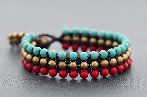 Contrast Stone Bracelets Fire And Ice Row Wrist Band Cord Woven