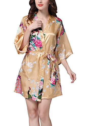 Rughe Women's Long Silk Pajamas with Belt V Neck Floral Silk Camel 2XL (Texere Silk Robe)