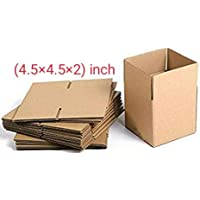 SHRI RAM PACKAGING 3ply 4.5×4.5×2 corrugated packing boxes size (length 4.5 inch width 4.5 inch height 2 inch)- pack of 50 box