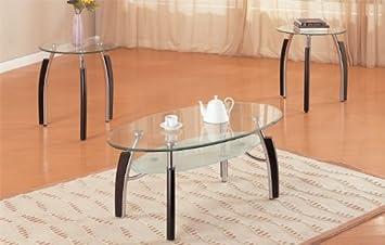 3pc Modern Oval Metal And Glass Coffee U0026 End Table Set