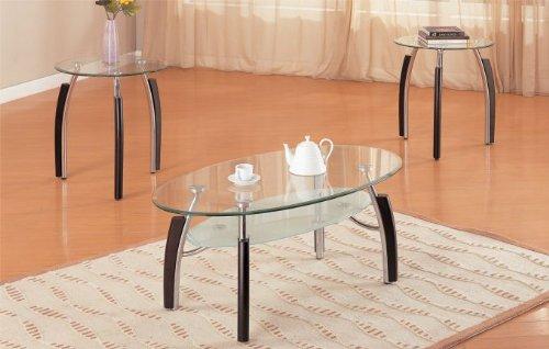 amazoncom 3pc modern oval metal and glass coffee u0026 end table set kitchen u0026 dining