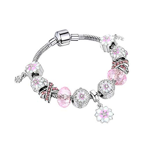 TOPOB Women's Pandora Bracelet, Beautiful Cherry Blossoms Pendant Pink Crystal DIY Large Hole Beaded Hand Chain (18)
