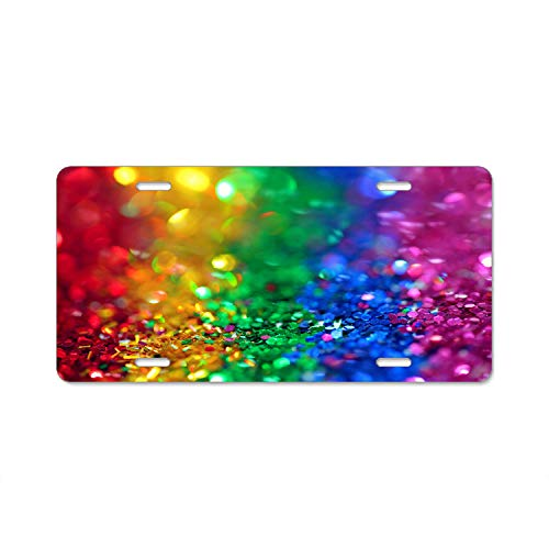 Hizhongmen Assorted Color Sequins - Aluminum License Plate, Front License Plate, Vanity Tag