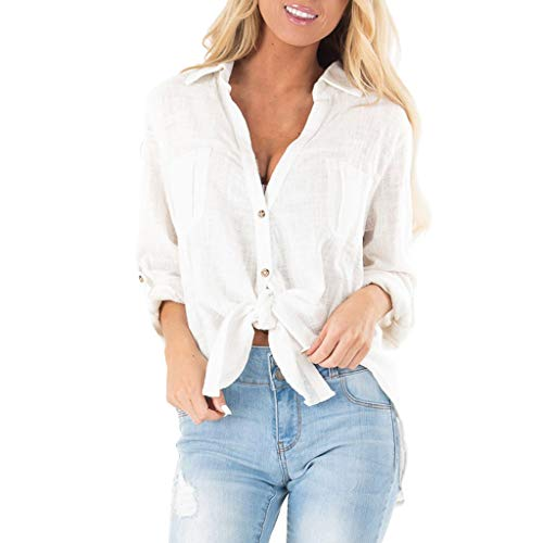 Womens Button Up Blouses V Neck Color Block Twist Knot Work Casual Long Sleeve Shirt Tops - Robots Fender