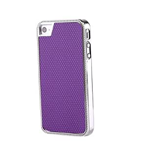 Kootronix Chrome Metal Leather Hard Case Cover for Apple iPhone 4 4S Purple
