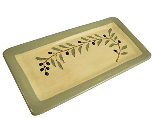 "Mediterranean Olive Branch 12.75"" Everyday Tray, American Handmade Terra Cotta Pottery"